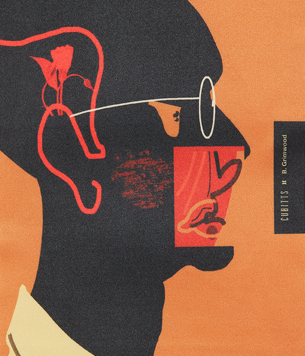 An illustration on textile of a man wearing glasses in orange background