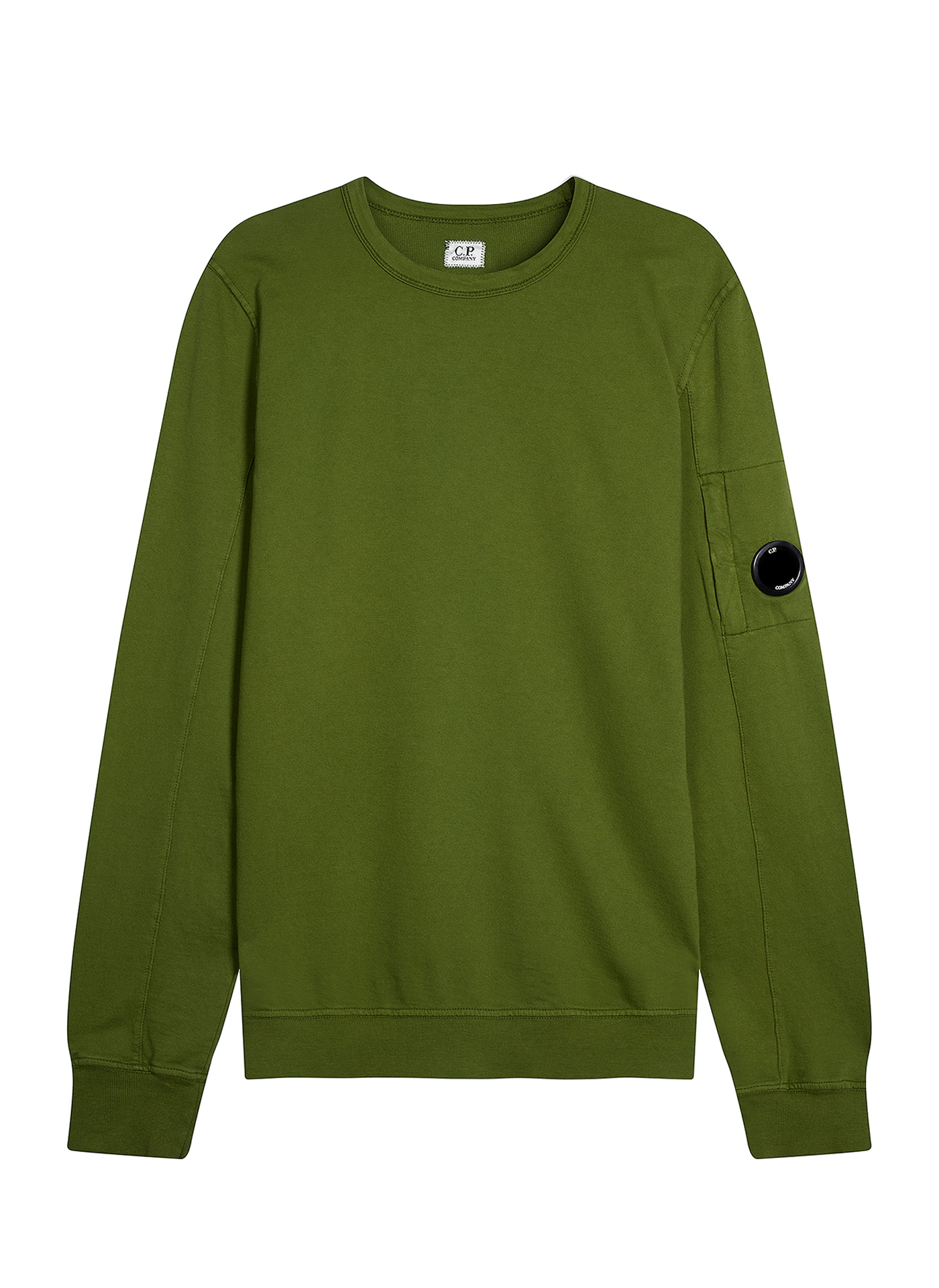 Front shot of green C.P. Company jumper on white background