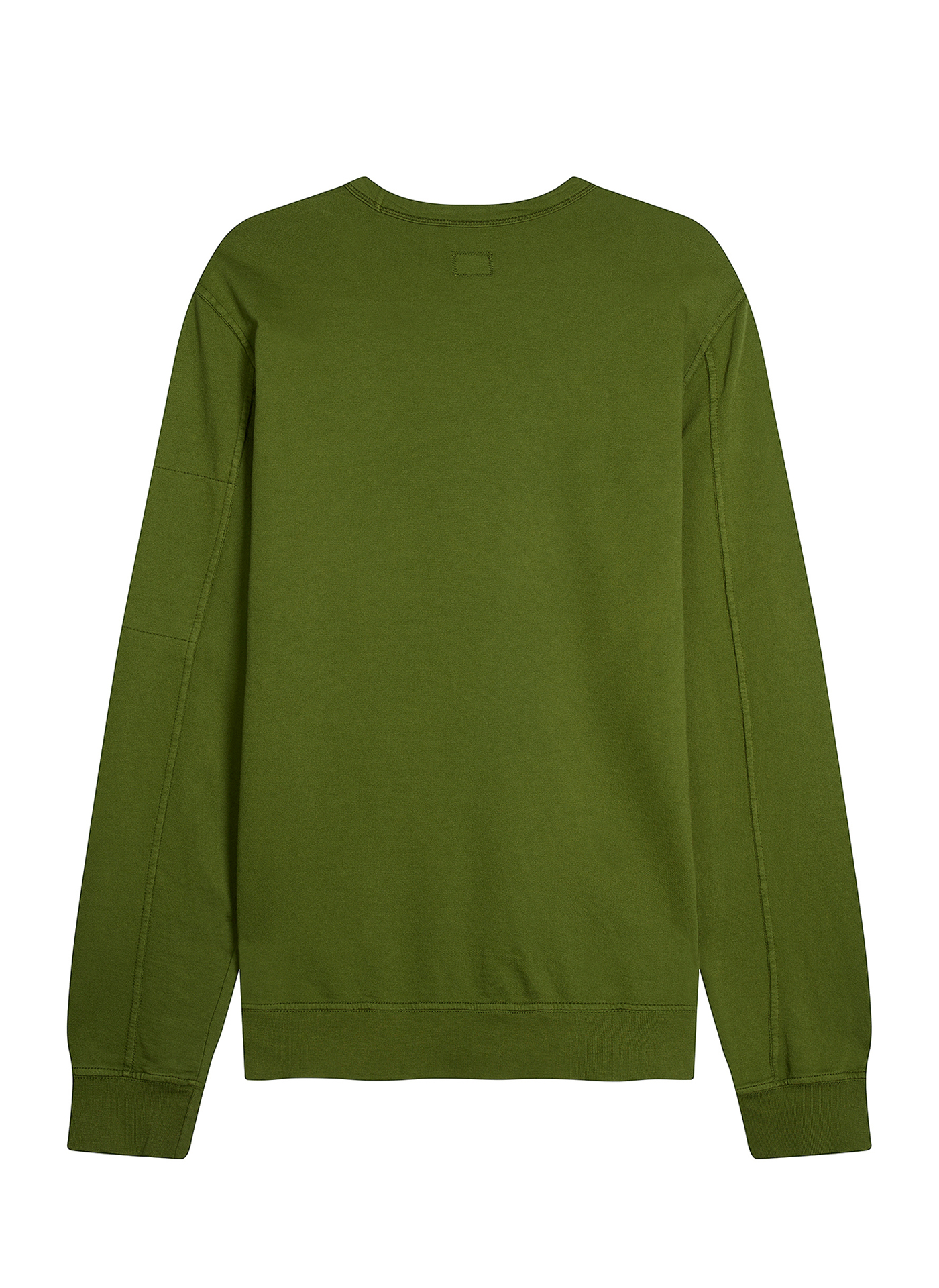 back side shot of green C.P. Company jumper on white background