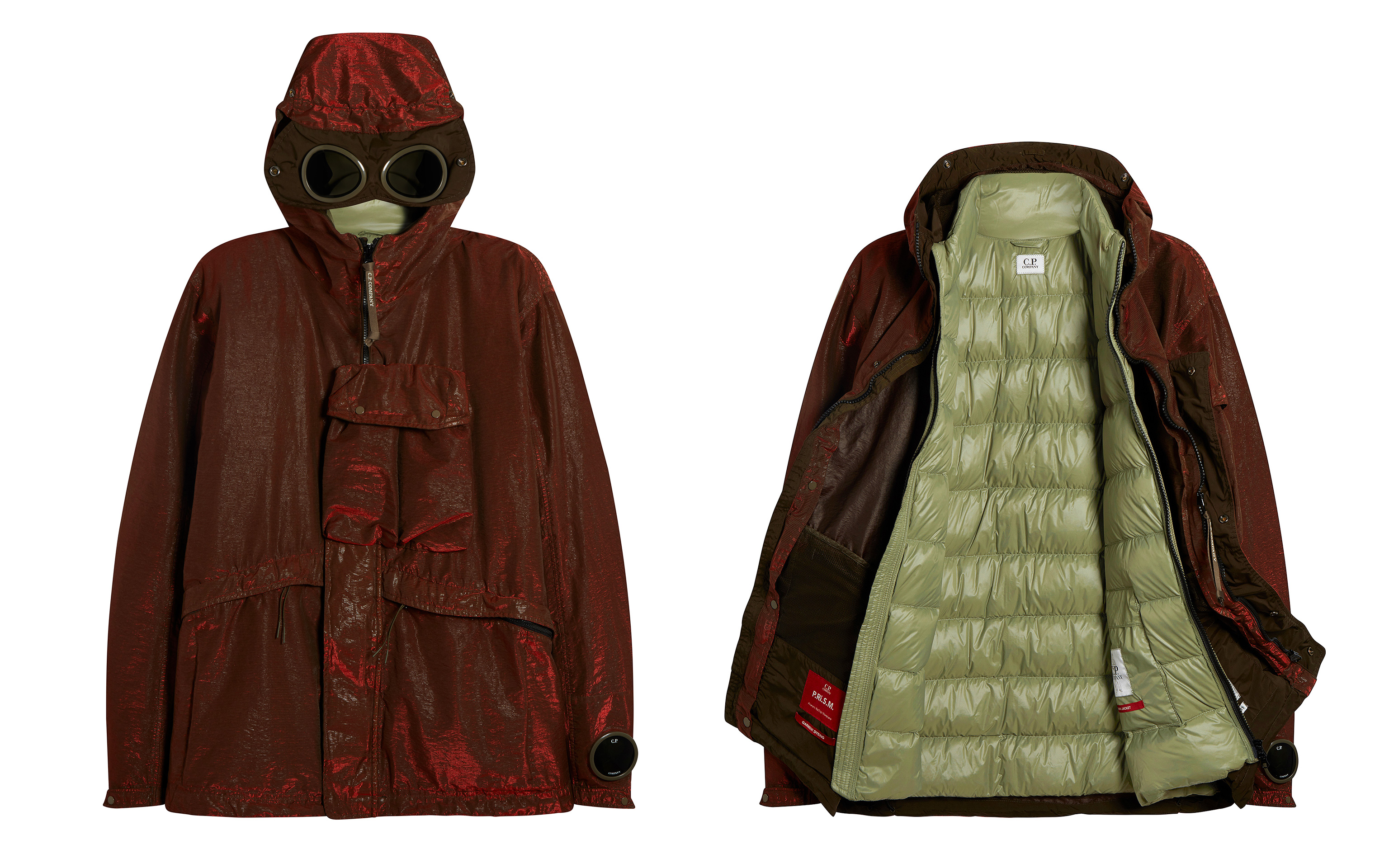 Picture of two Burgundy colour C.P. Company raincoats one open and the other closed, both on white background