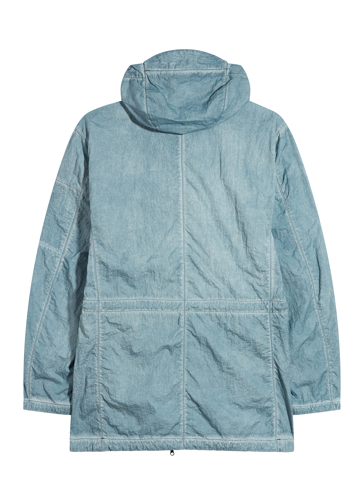 Back side shot of a washed out blue C.P. Company Jacket on white background