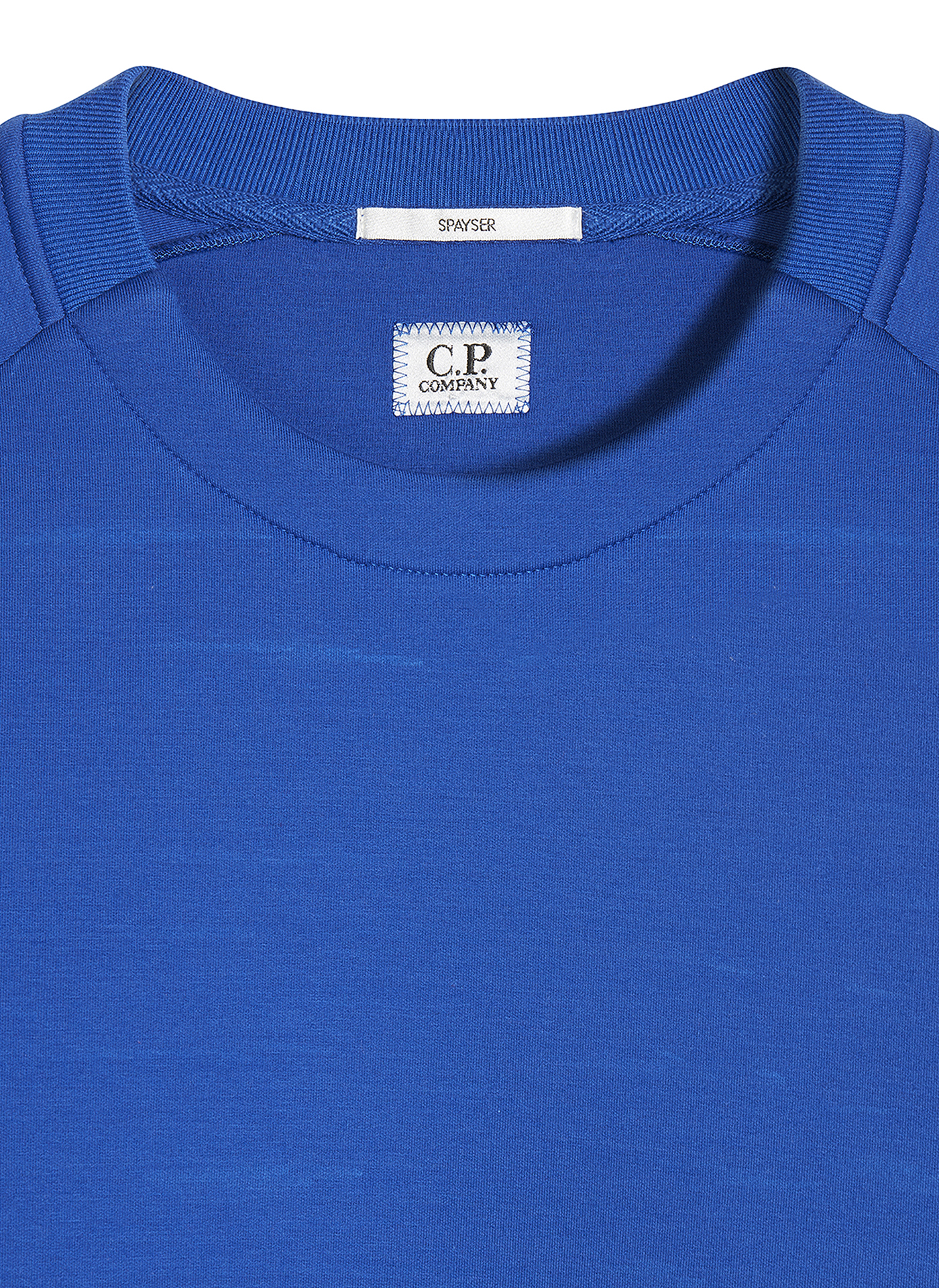 Label detail Shot of the blue C.P. Company jumper