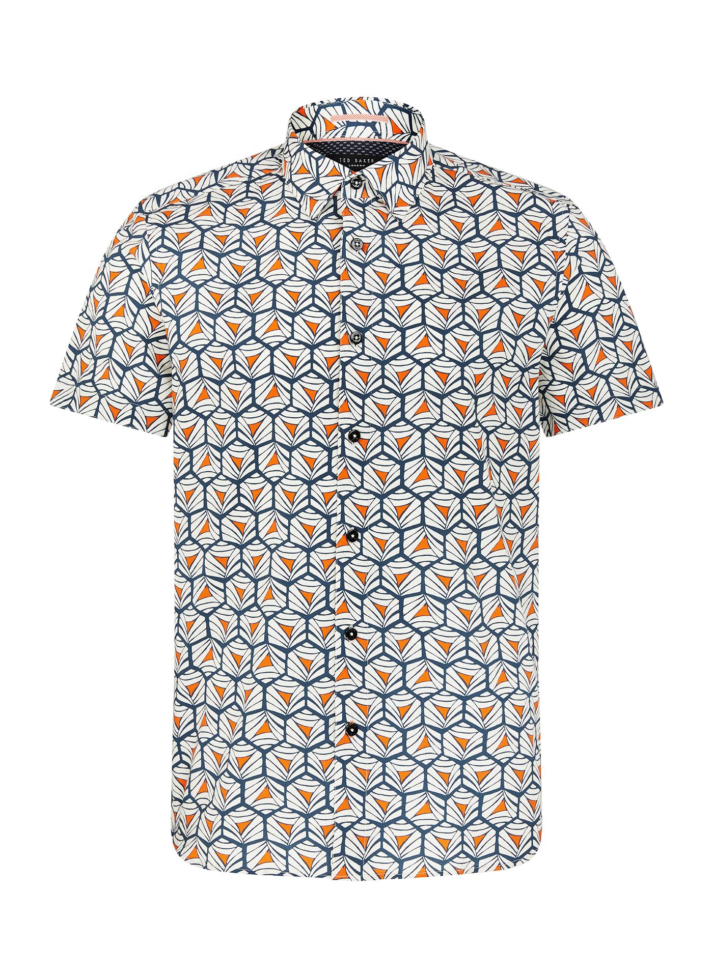 Ted Baker light grey pattern short sleeve shirt