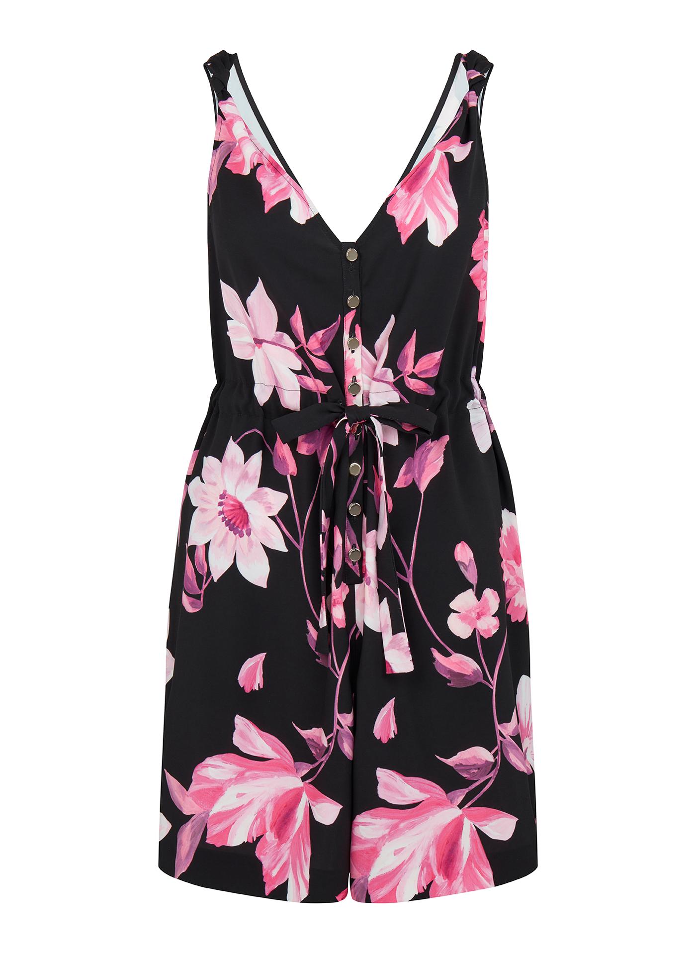 Pink florals on black Ted Baker dress