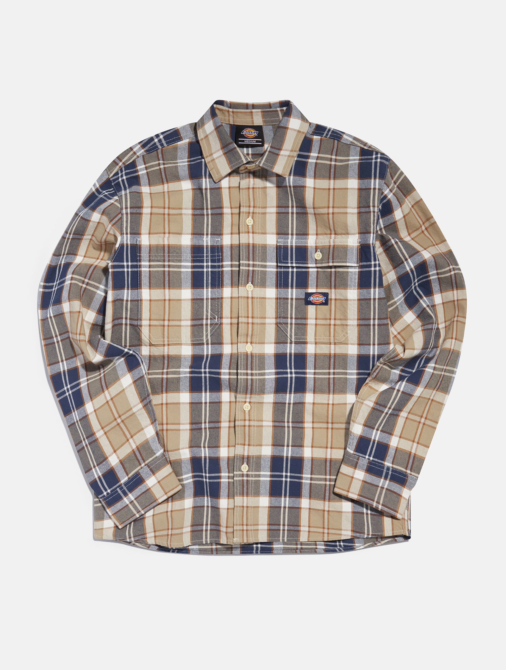 Dickies Long sleeve blue and light brown checkered shirt