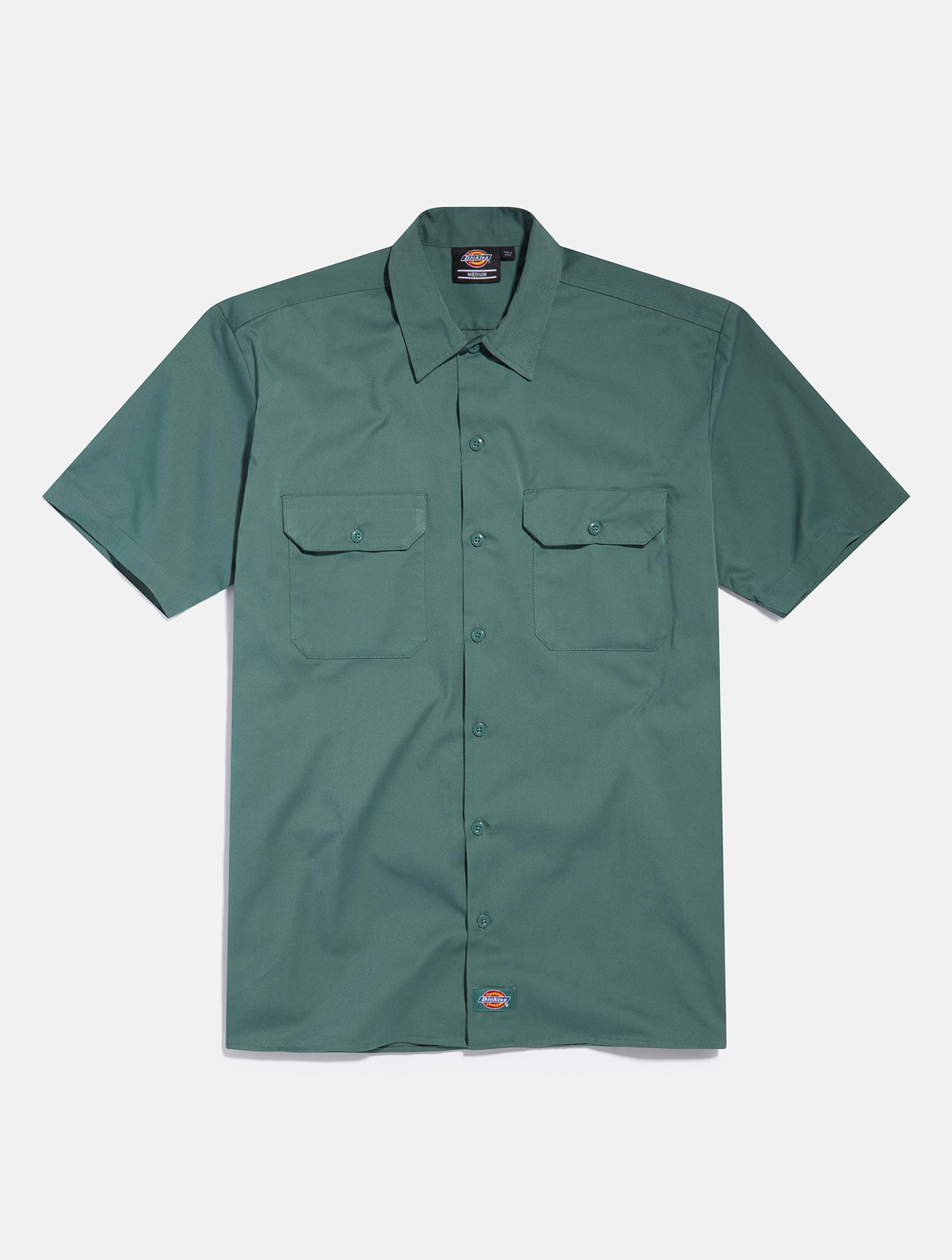 Green Dickies short sleeve shirt   eCommerce Photography London