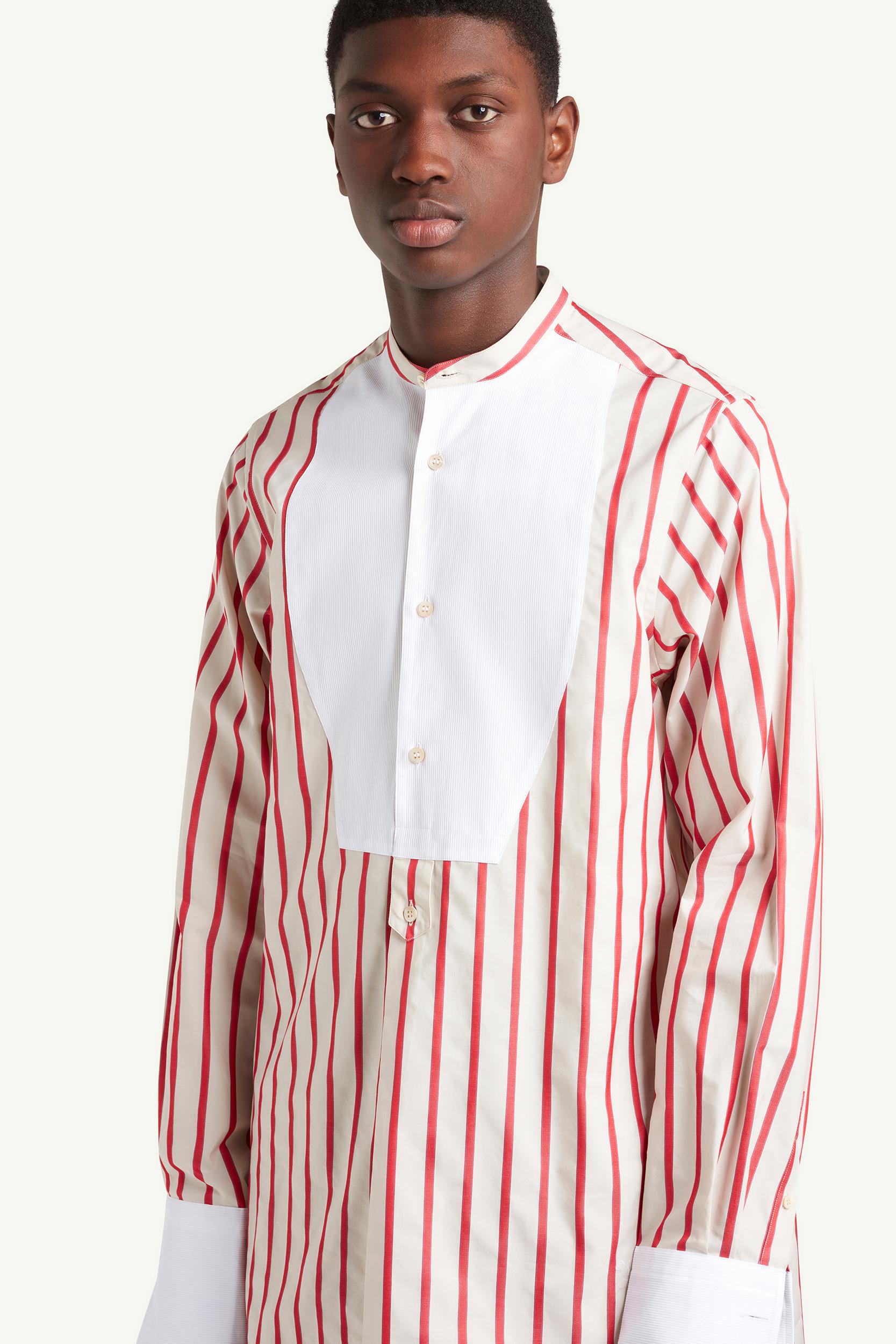 Wales Bonner Menswear Model wearing a red striped shirt | LRP