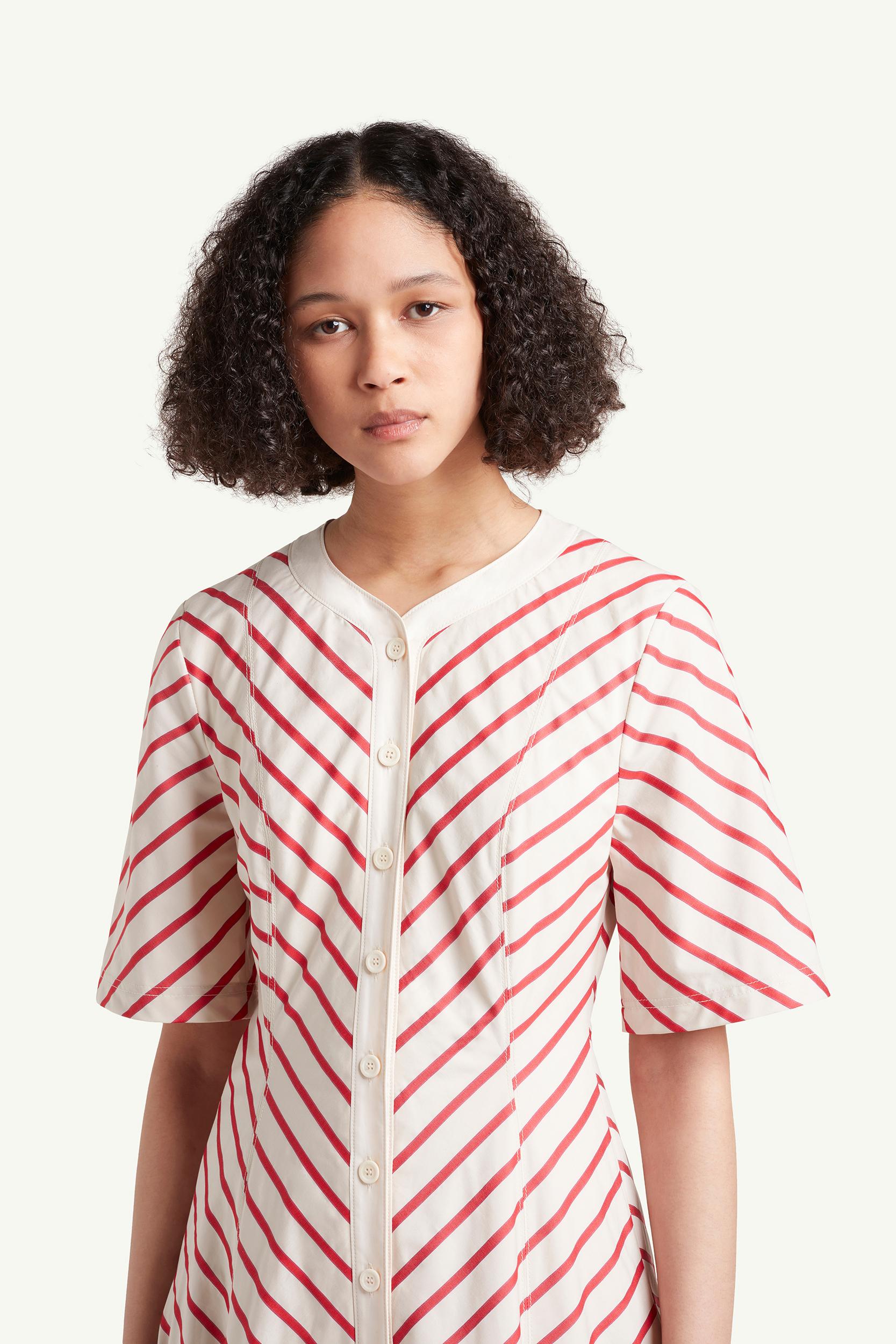 Wales Bonner Womenswear Model wearing a red striped dress | LRP