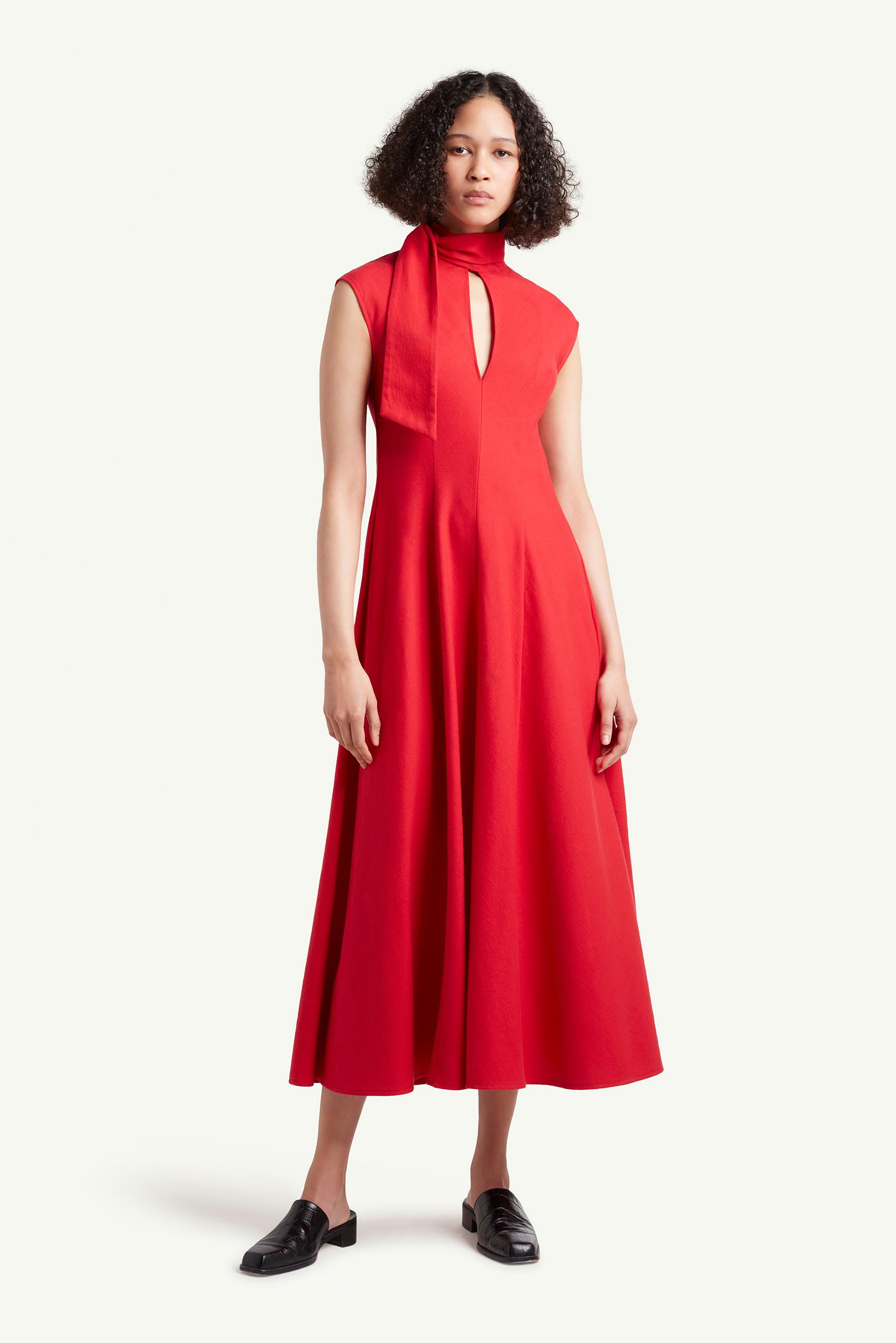 Wales Bonner Womenswear Model wearing a red dress | LRP