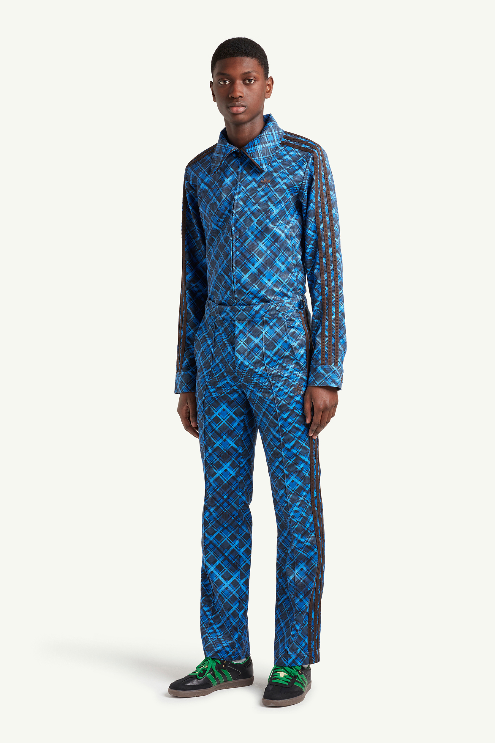 Menswear model wearing dark and light blue checkered suit by Wales Bonner | eCommerce Photography London | LRP