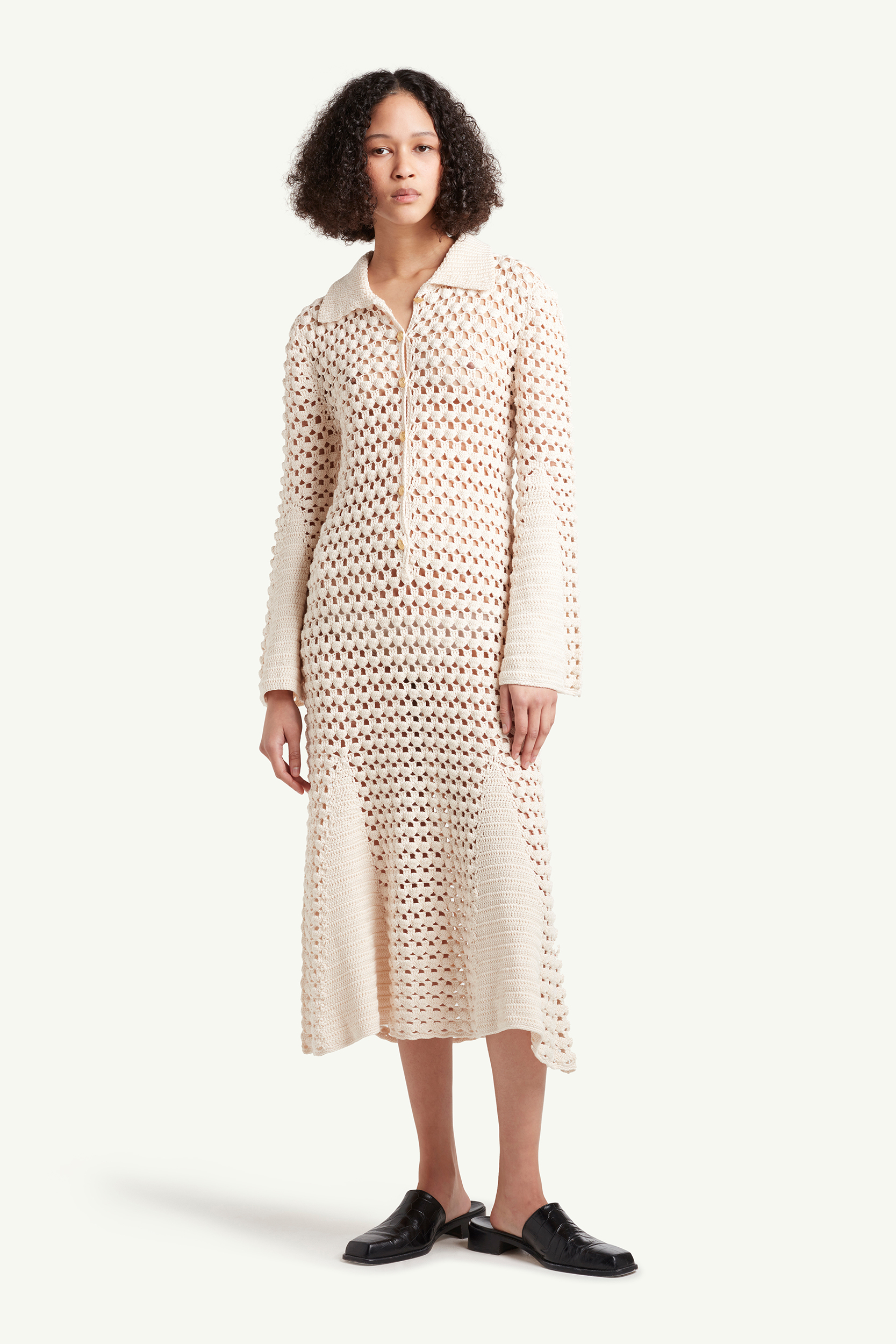 Wales Bonner Womenswear Model wearing a white see-through knitted dress | LRP