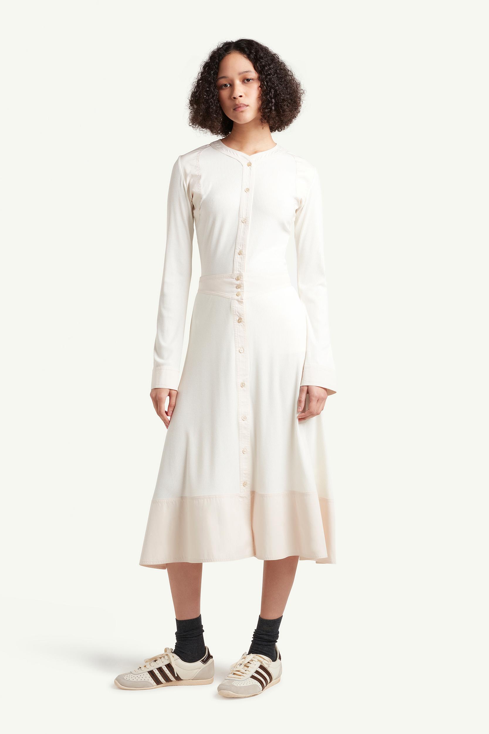 Womenswear model wearing Wales Bonner Womenswear Model wearing a white long dress | E-commerce Photography London