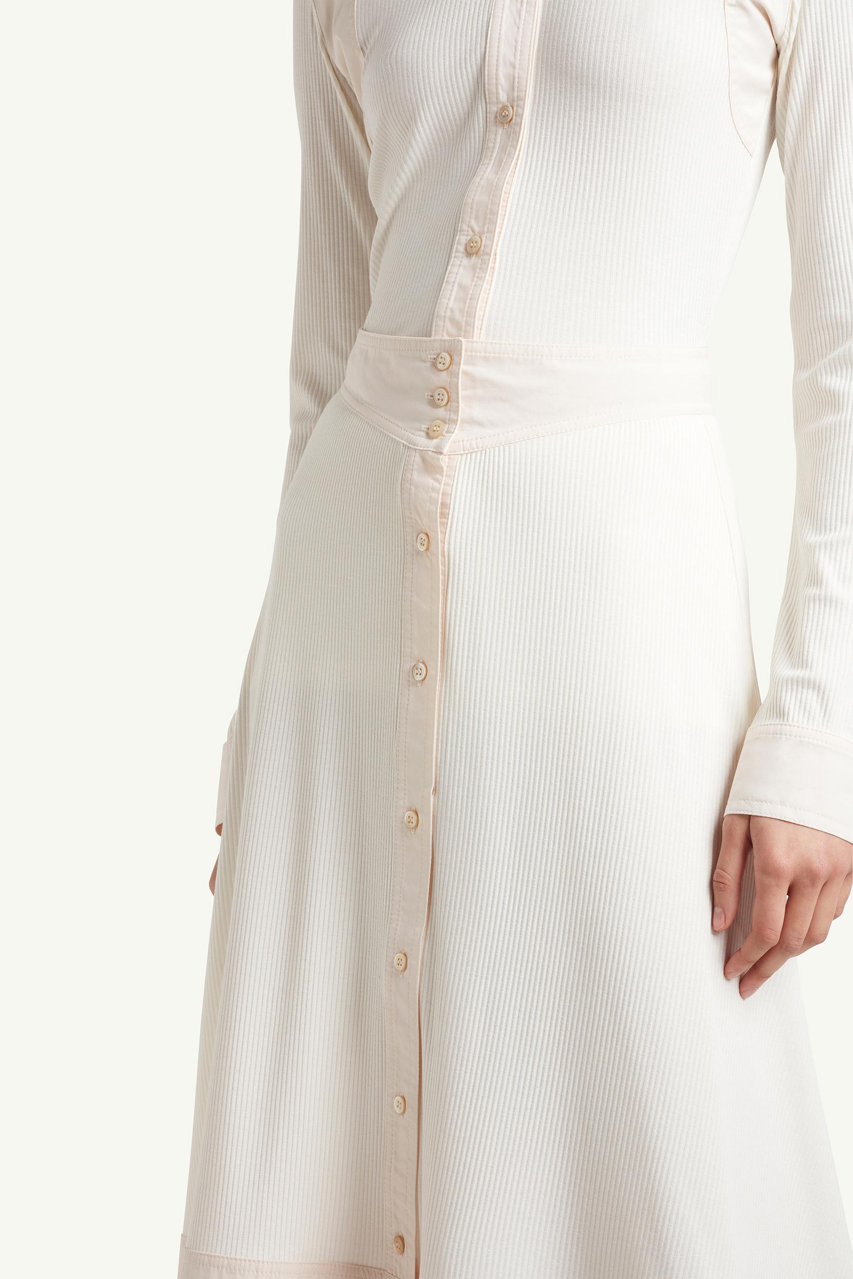 detail shot of womenswear model wearing Wales Bonner Womenswear Model wearing a white long dress | LRP