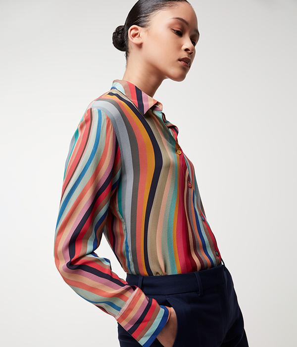 Womenswear Model wearing Paul Smith swirl dress