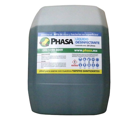 Solución desinfectante para tapete sanitizante