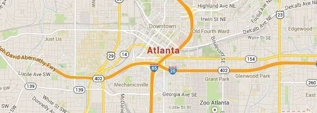 Map of Atlanta, GA and surrounding area