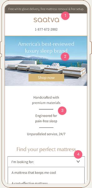 Saatva Mobile Landing Page