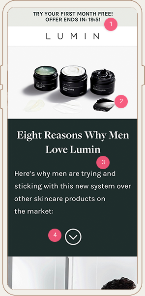 Lumin Skincare Mobile Landing Page