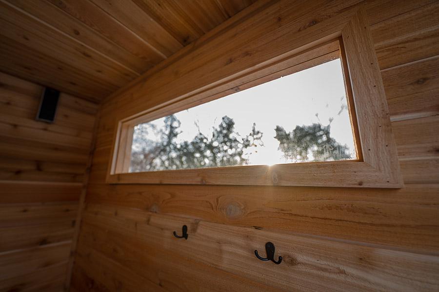 Inside a sauna, detail of a window