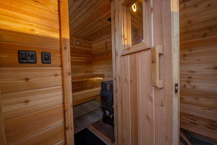View through a sauna door