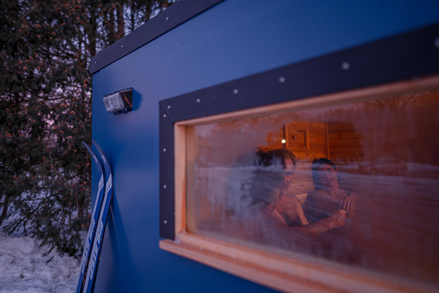 View through the window of a mobile sauna