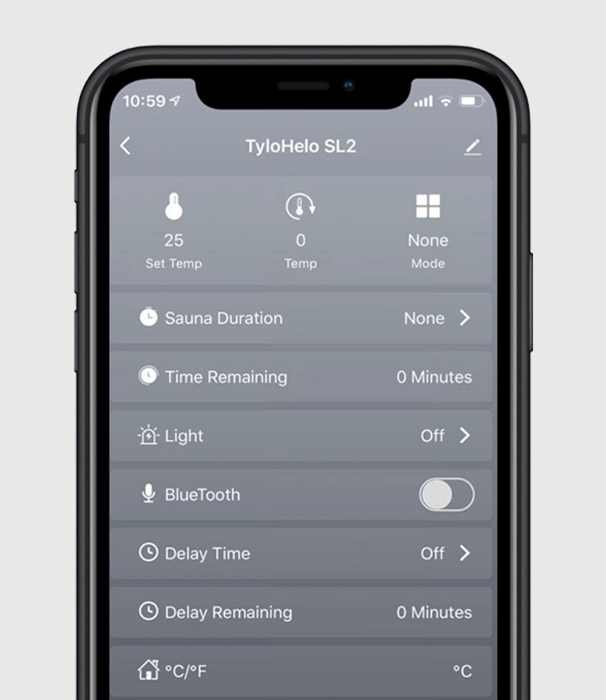 SaunaLogic2 app screen