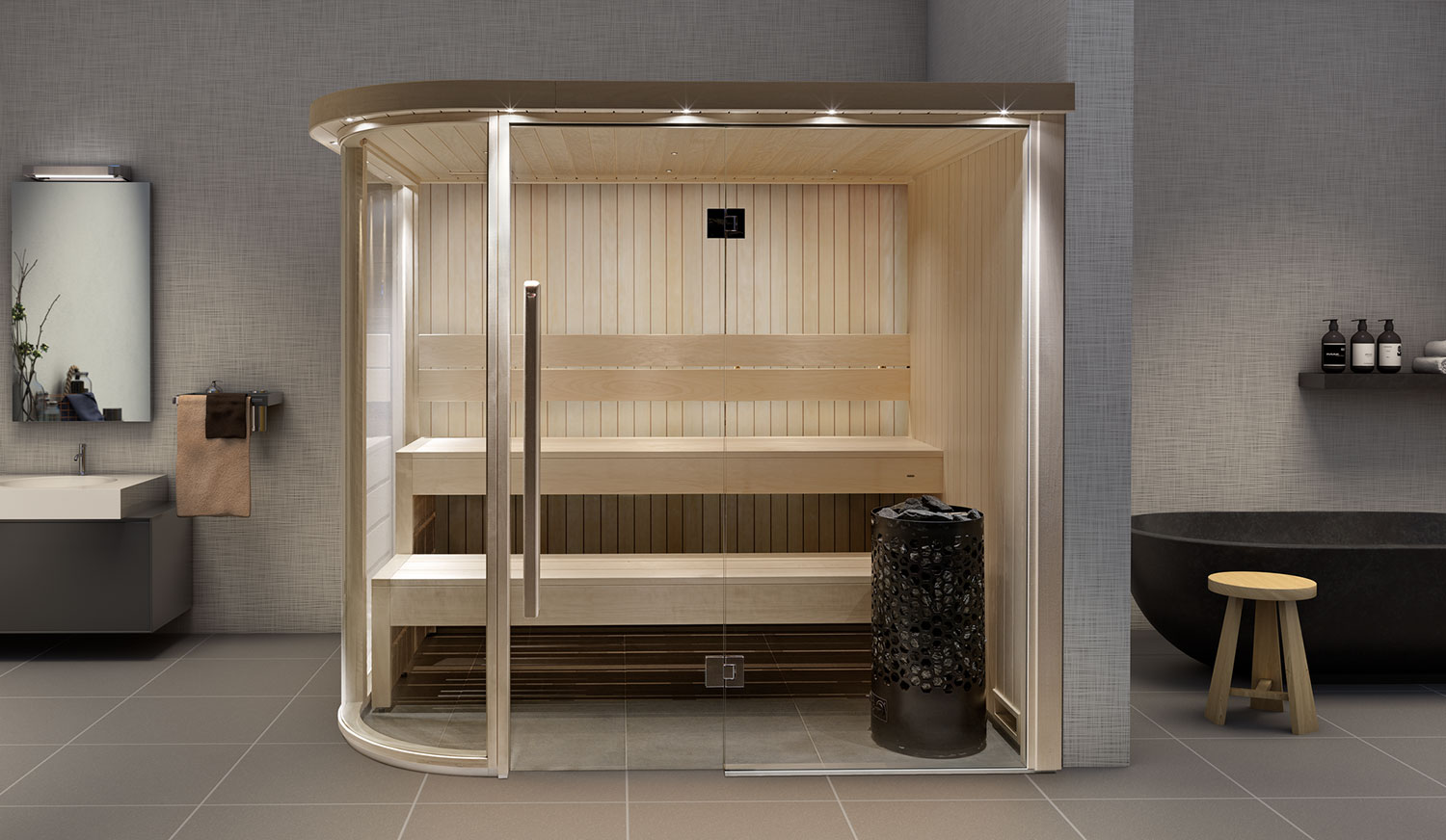 An indoor sauna installed in a bathroom