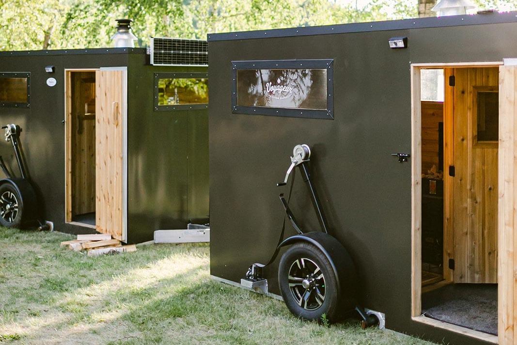 Lights strung across a mobile sauna's exterior