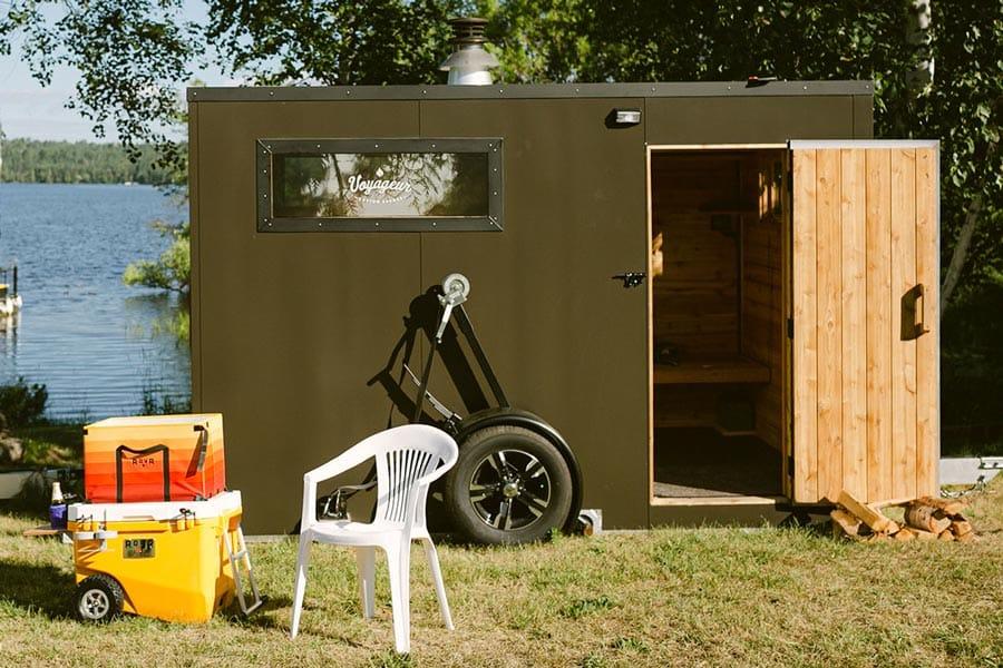 Mobile sauna door slightly open