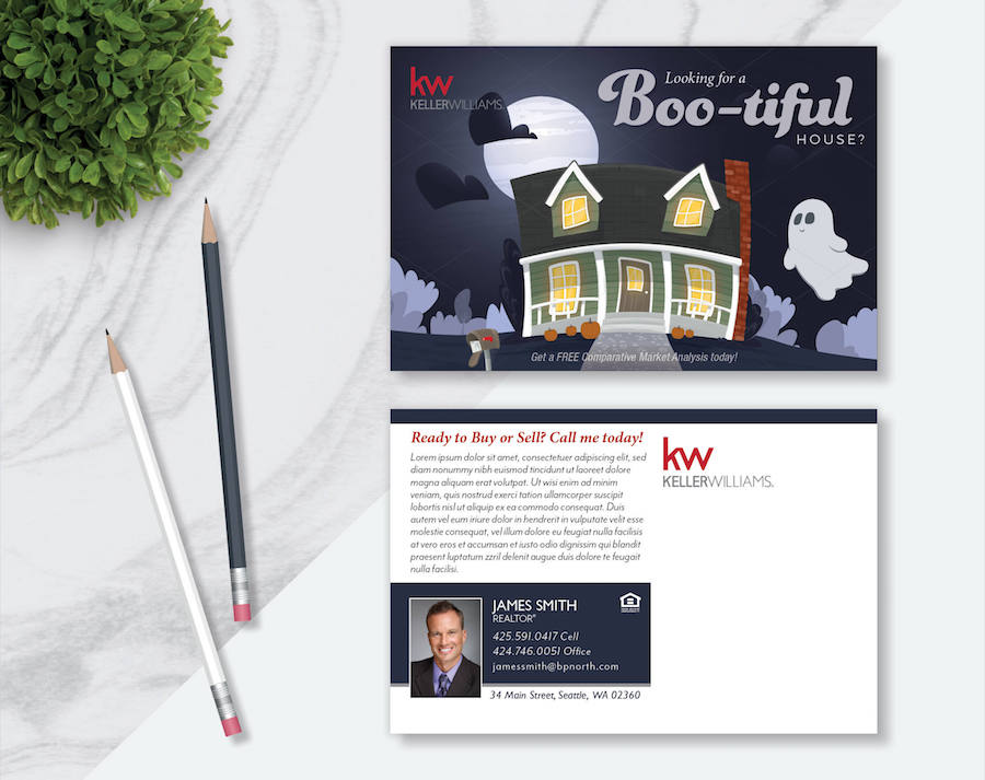 An example of a real estate holiday postcard design for Halloween