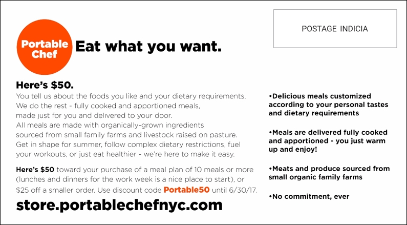 Portable Chef direct mail postcard Back