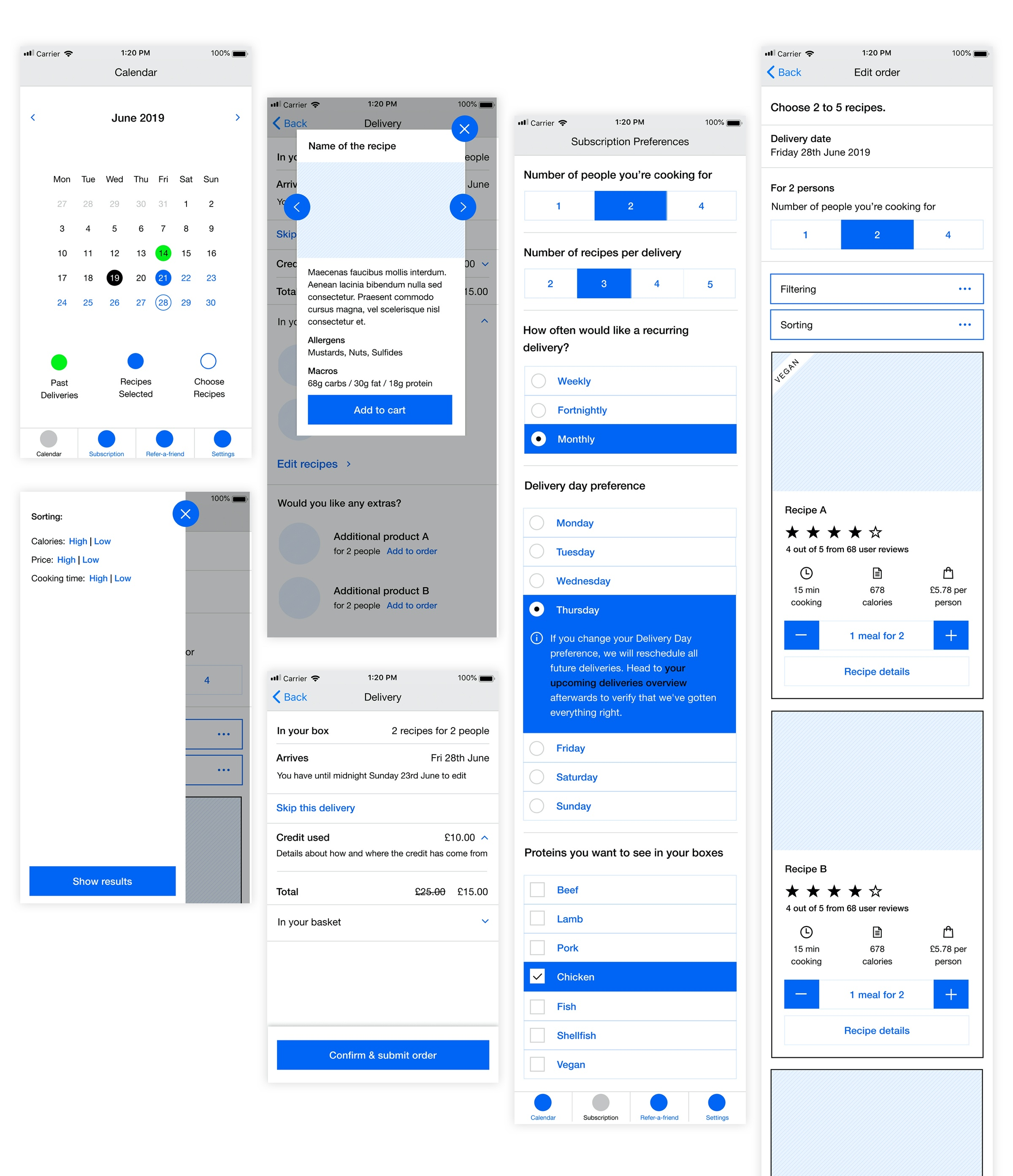 Mindful Chef - Mobile Wireframes