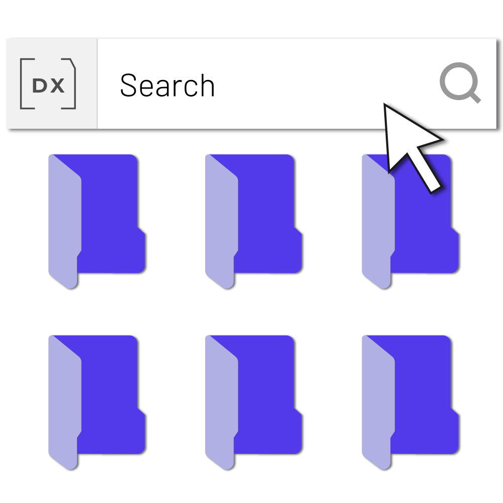 Four folder and a search bar