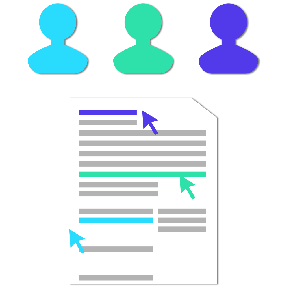 Three profiles and a document with an arrow pointing to a section