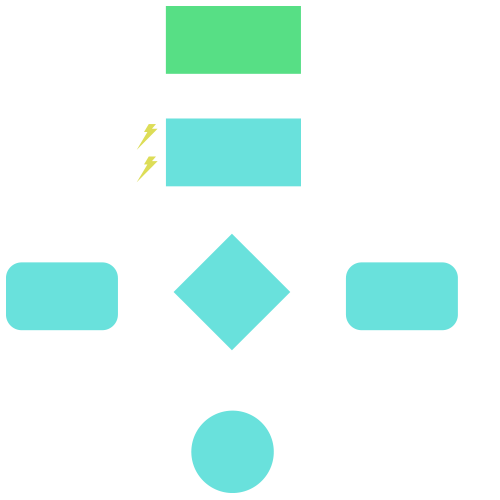 Workflow icon with several boxes connected with arrows
