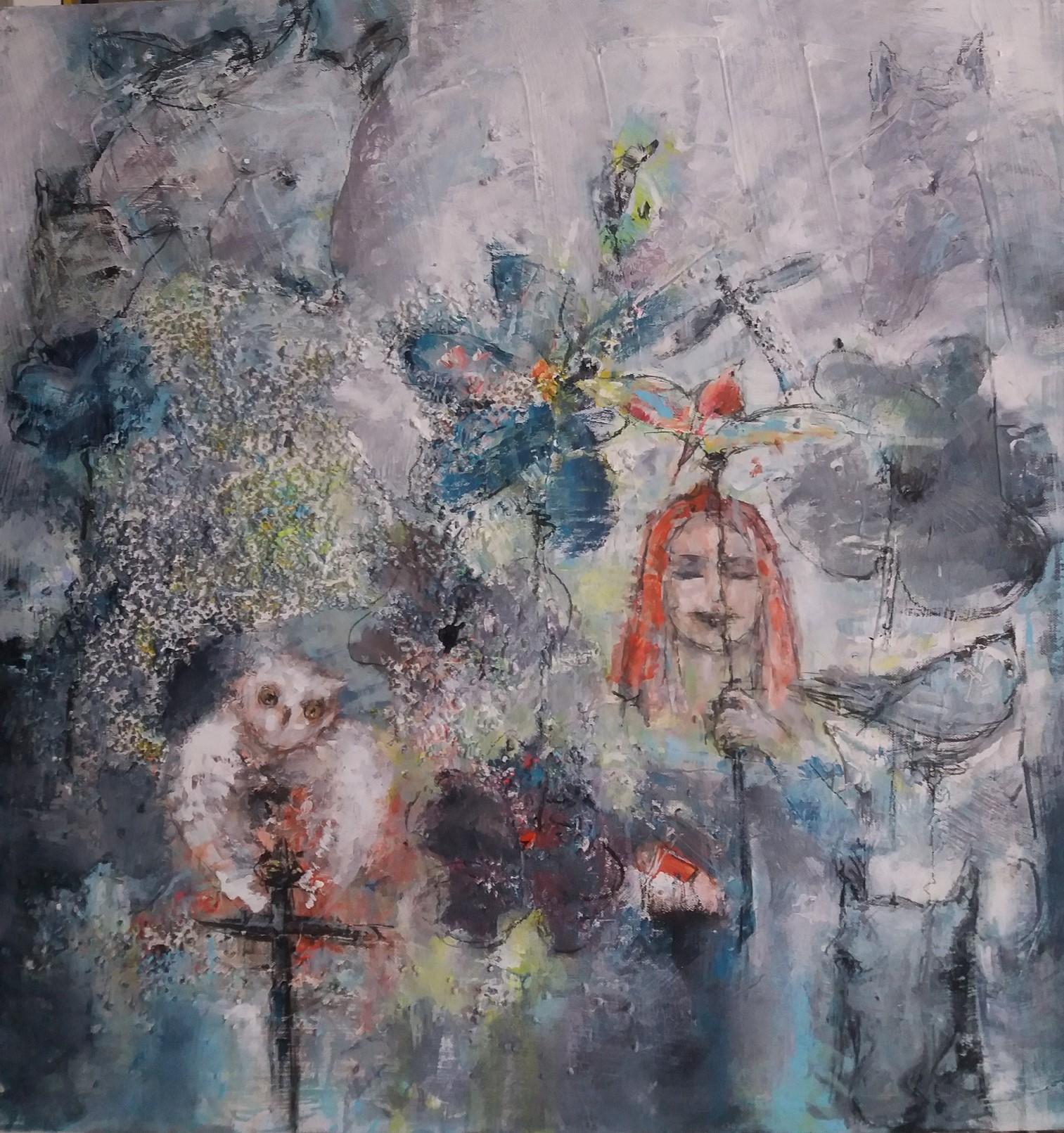 Bilde i grå- og lillatoner malt av Gunny Brørby