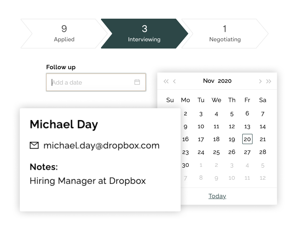 Adding contacts and setting follow up dates