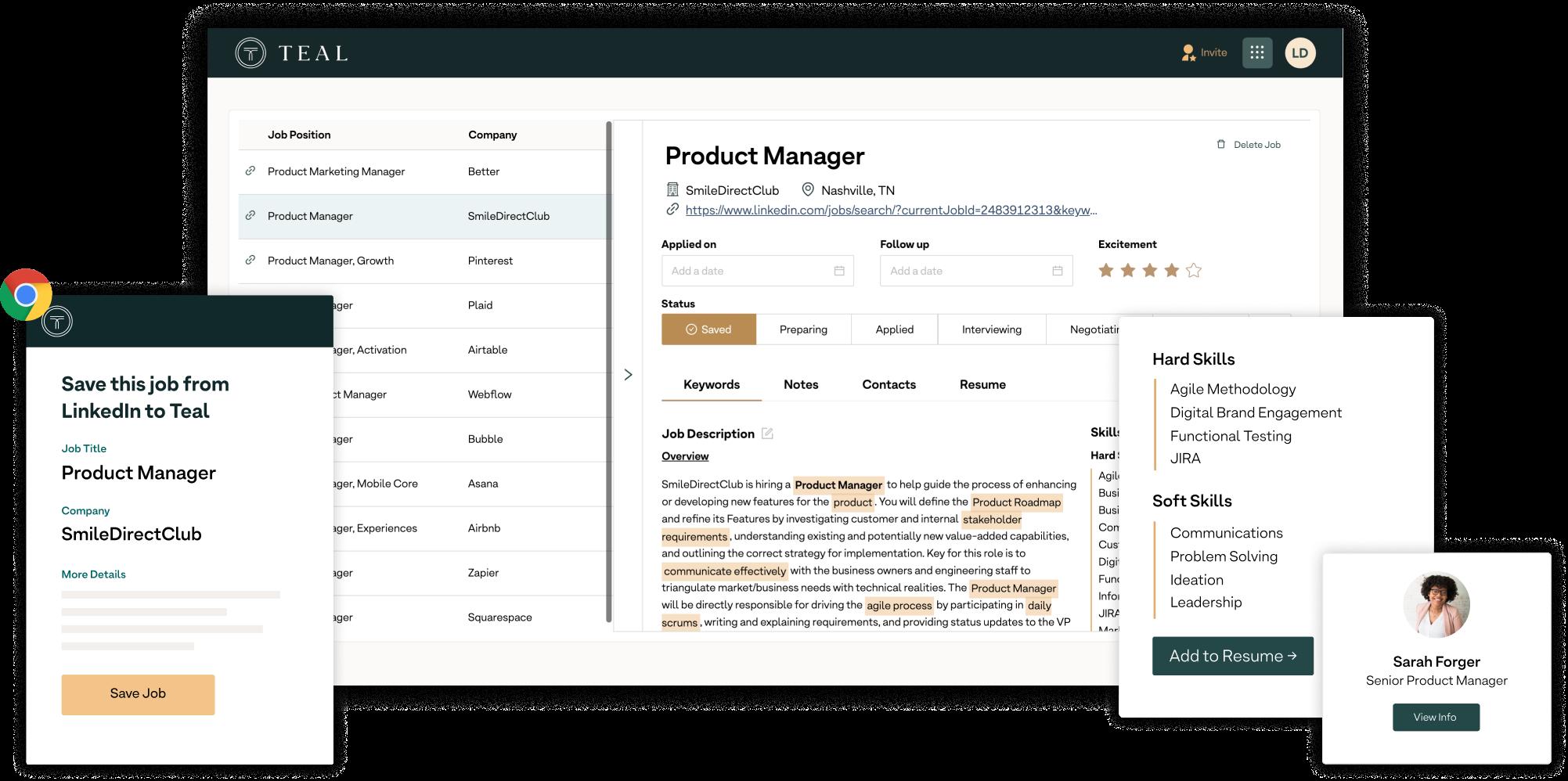 Teal Job Tracker Screenshots