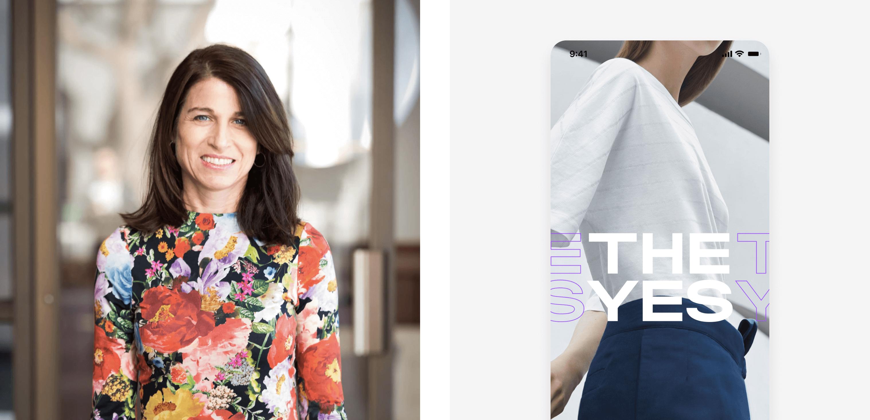Julie Bornstein beside her new mobile shopping app, The Yes.
