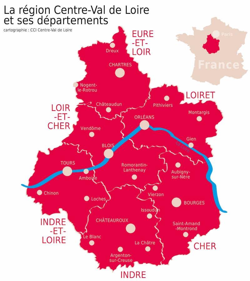 Carte des espaces de coworking en Région Centre