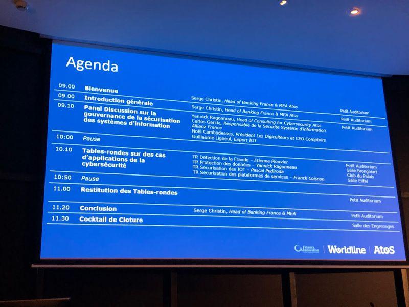 Table ronde Atos fintech et cybersécurité, l'agenda