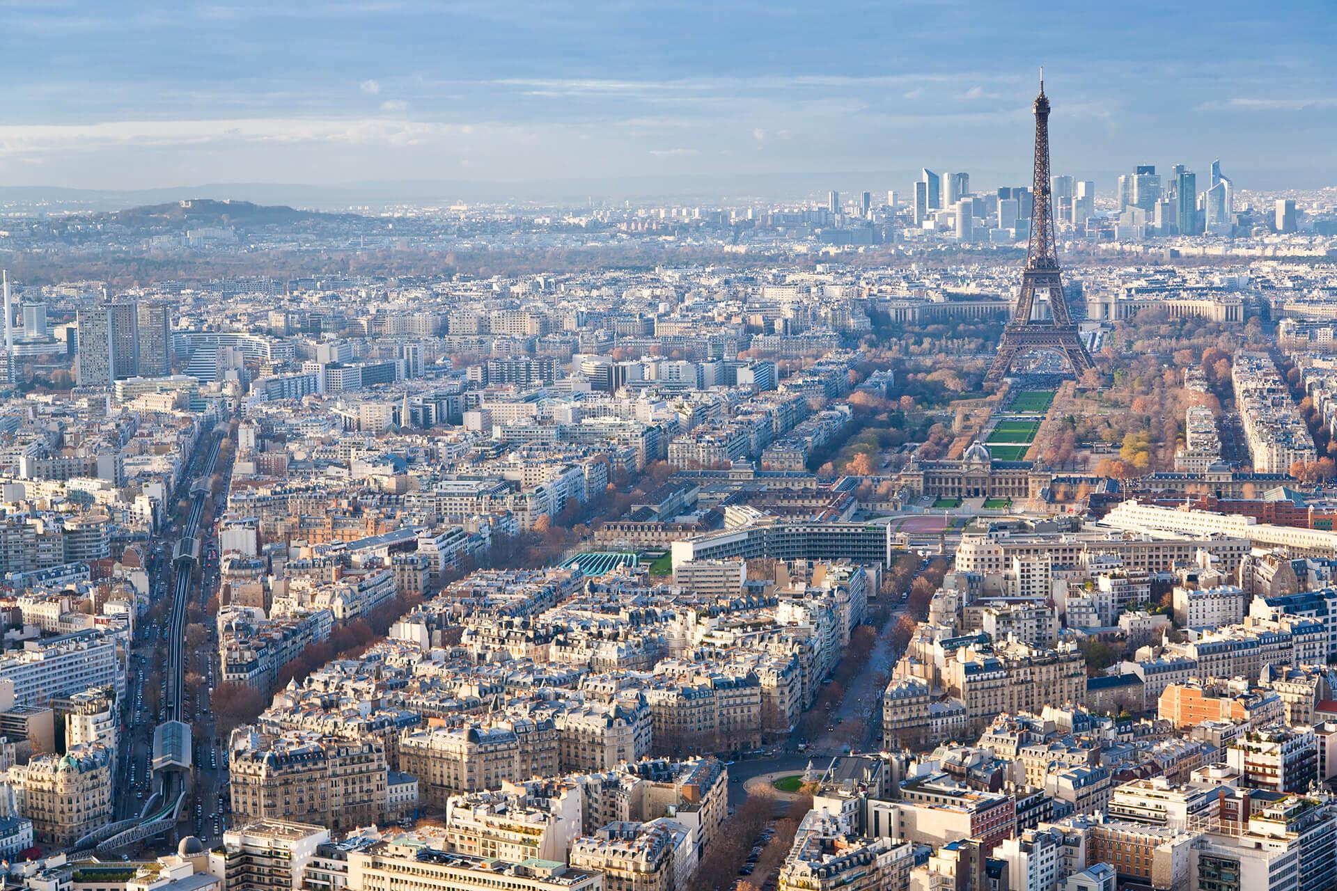 vue aérienne immeubles de bureaux à Paris