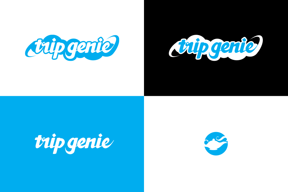 Finalized logo design: The words 'Trip Genie' are rendered in a thick, mid-century style script reversed against stylized clouds.