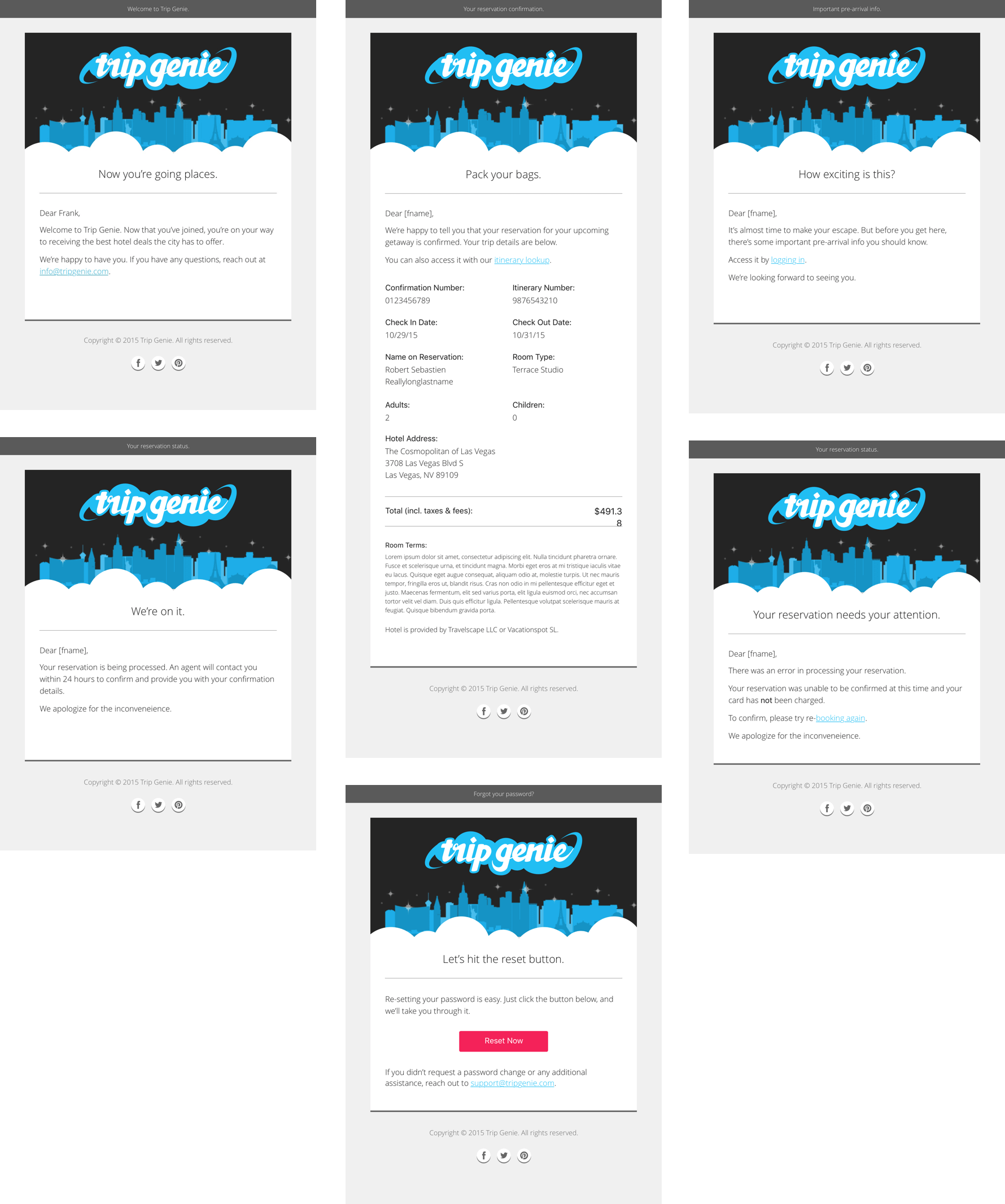Examples of the lifecycle of hotel reservation emails.