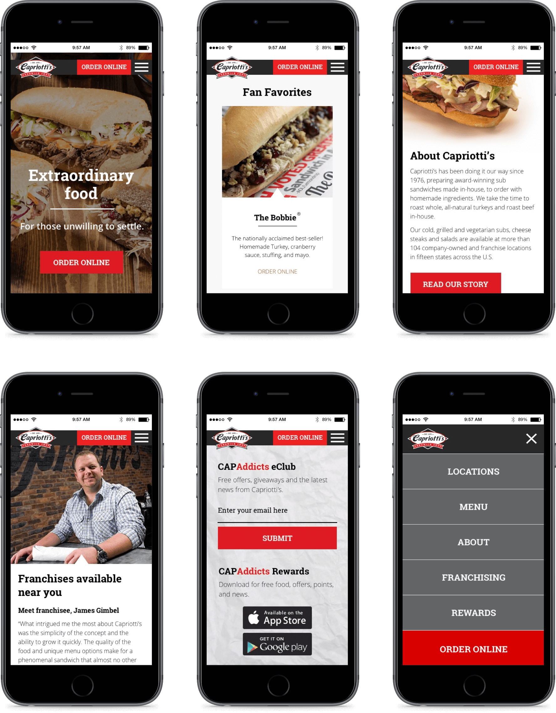 Mobile mockups of the homepage using an iPhone 6s.