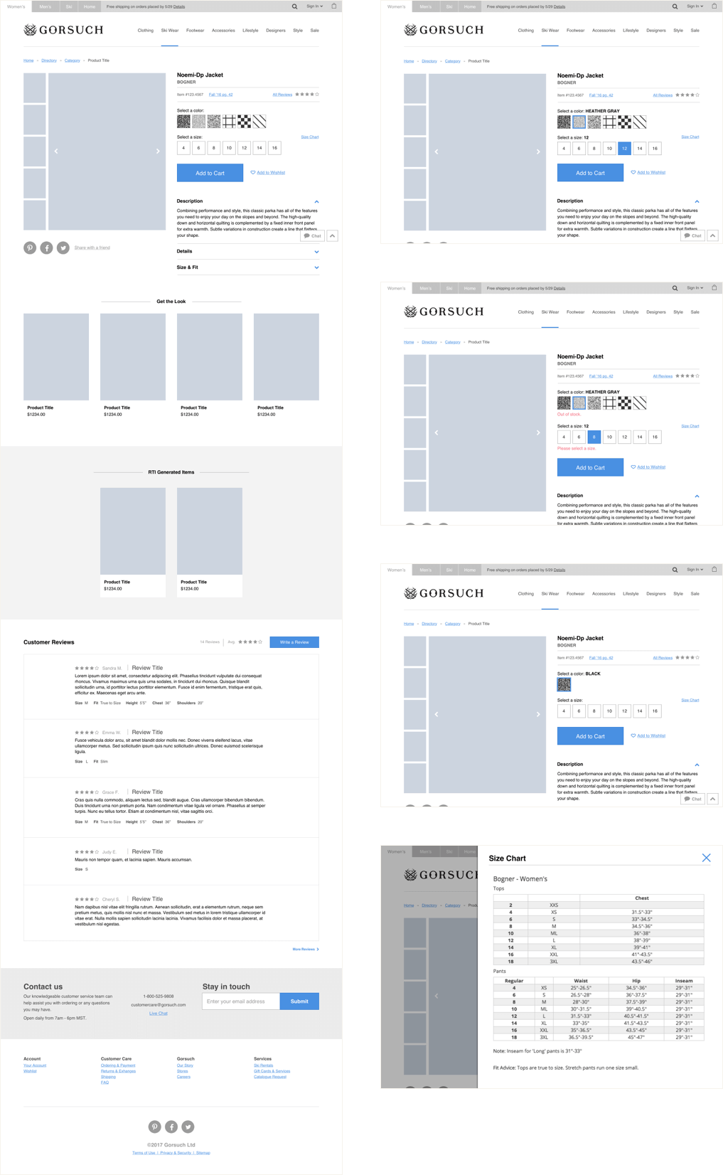 Desktop wireframe showing the layout of the product page.