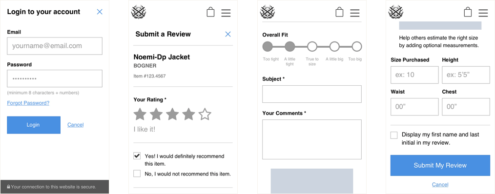 Wireframes of the review user flow on mobile.
