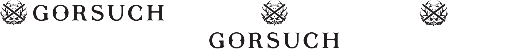 Gorsuch logo shown horizontally, stacked, and with only the crest.