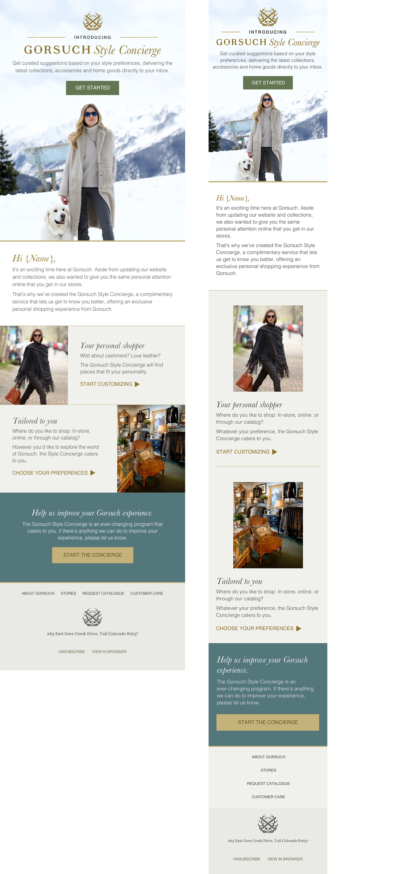 Gorsuch Style Concierge email design