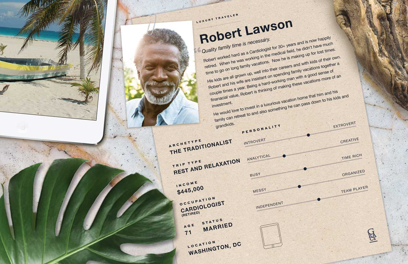 Poster describing Robert, the Traditionalist archetype, showing his iPad with a photo his fishing boat.